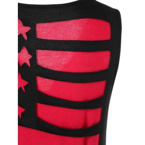 U Neck Cutout American Flag Tank Top -