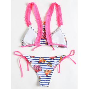 Flower Stripe Print Frilled Trim Bikini -