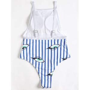 Backless Striped Eyes Pattern Swimsuit -