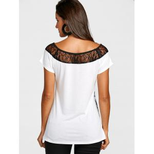 Lace Panel Short Sleeve Print T-shirt -