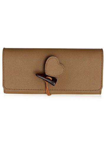Shop Heart Embellished Horn Buckle Long Card Wallet