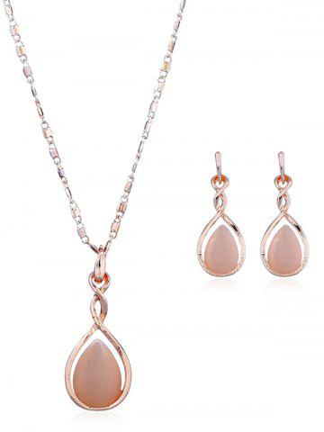 Cheap Artificial Opal Teardrop Necklace and Earring Set