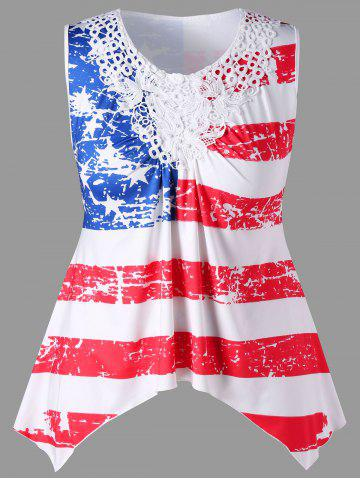 Trendy Plus Size Lace Panel American Flag Tank Top