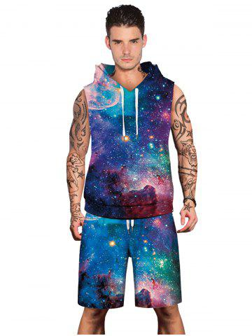 Latest Stary Sky Print Hoodies Tank Top and Shorts