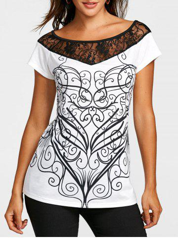 Latest Lace Panel Short Sleeve Print T-shirt