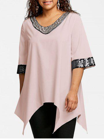 Best Plus Size Sequined Trim Crescent Hem Blouse