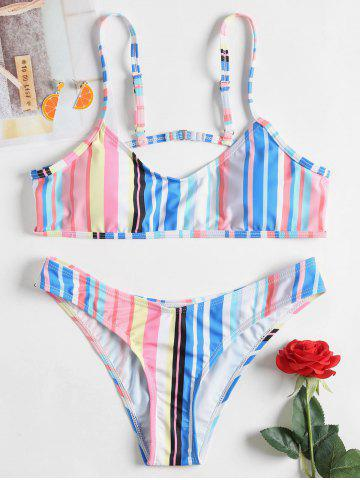 Fancy Striped Thong Cami Strap Bikini