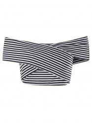 Striped Bandeau Off The Shoulder Crop Top -