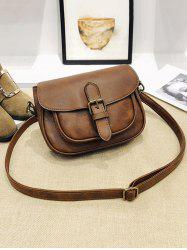 Vintage PU Leather Flapped Crossbody Bag -