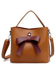 PU Leather Bowknot Top Handle Crossbody Bag -