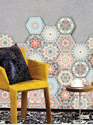 10 Pcs Vintage Bohemian Pattern Hexagon Wall Floor Stickers Decal -
