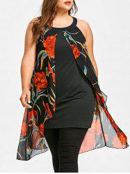 Floral Print Plus Size Sleeveless Long Blouse -