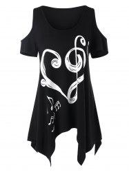 Asymmetrical Musical Notes Heart Cold Shoulder T-shirt -