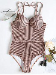 Push Up Striped High Waisted Swimsuit -