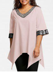 Plus Size Sequined Trim Crescent Hem Blouse -