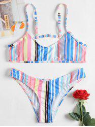 Striped Thong Cami Strap Bikini -