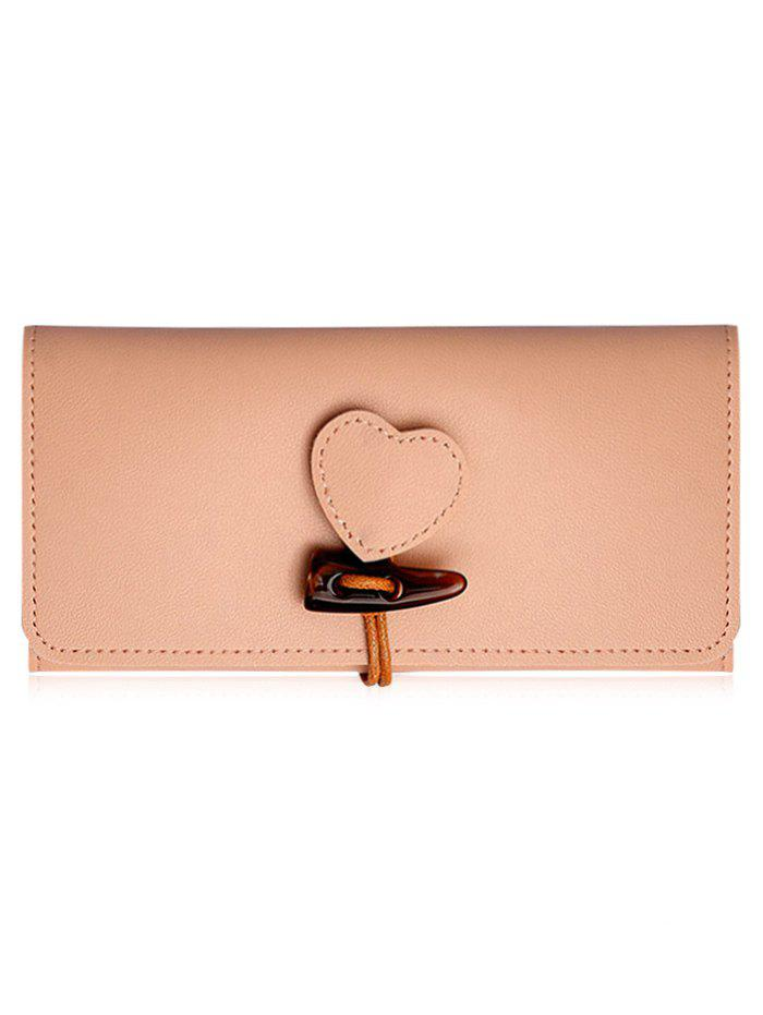 Hot Heart Embellished Horn Buckle Long Card Wallet