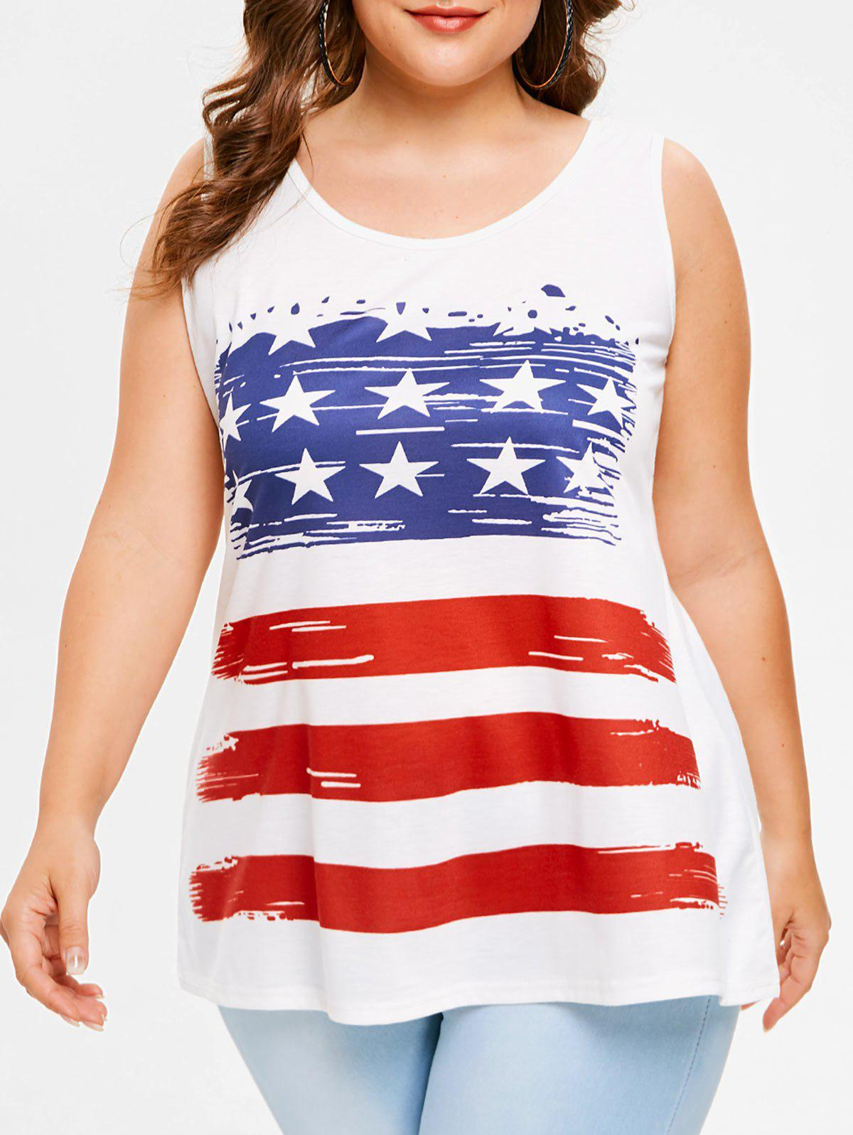 Outfit Plus Size American Flag Tank Top