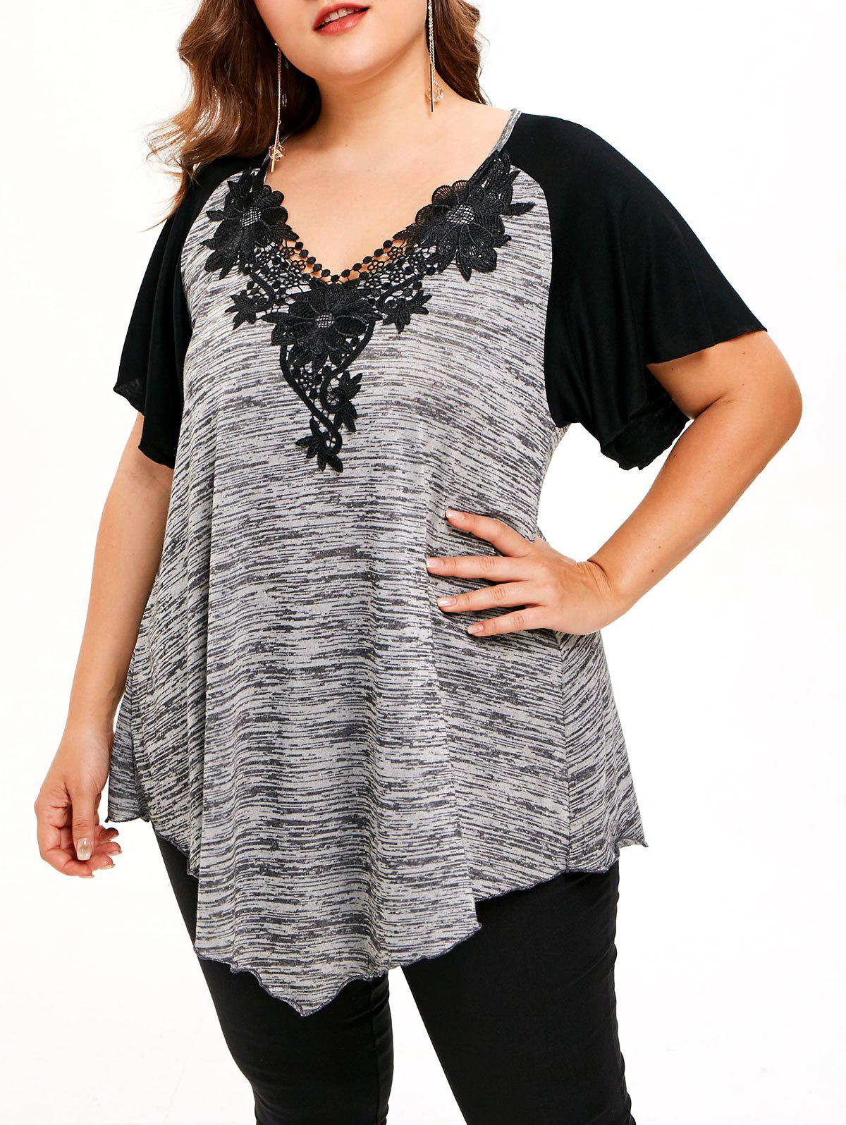 8f84ad8e213 Trendy Flower Lace Plus Size Raglan Sleeve T-shirt