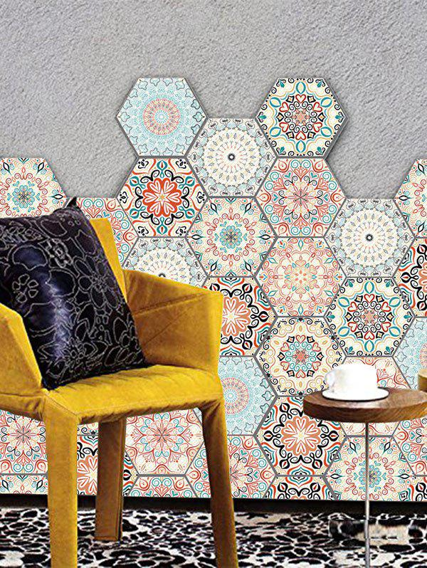 Hot 10 Pcs Vintage Bohemian Pattern Hexagon Wall Floor Stickers Decal