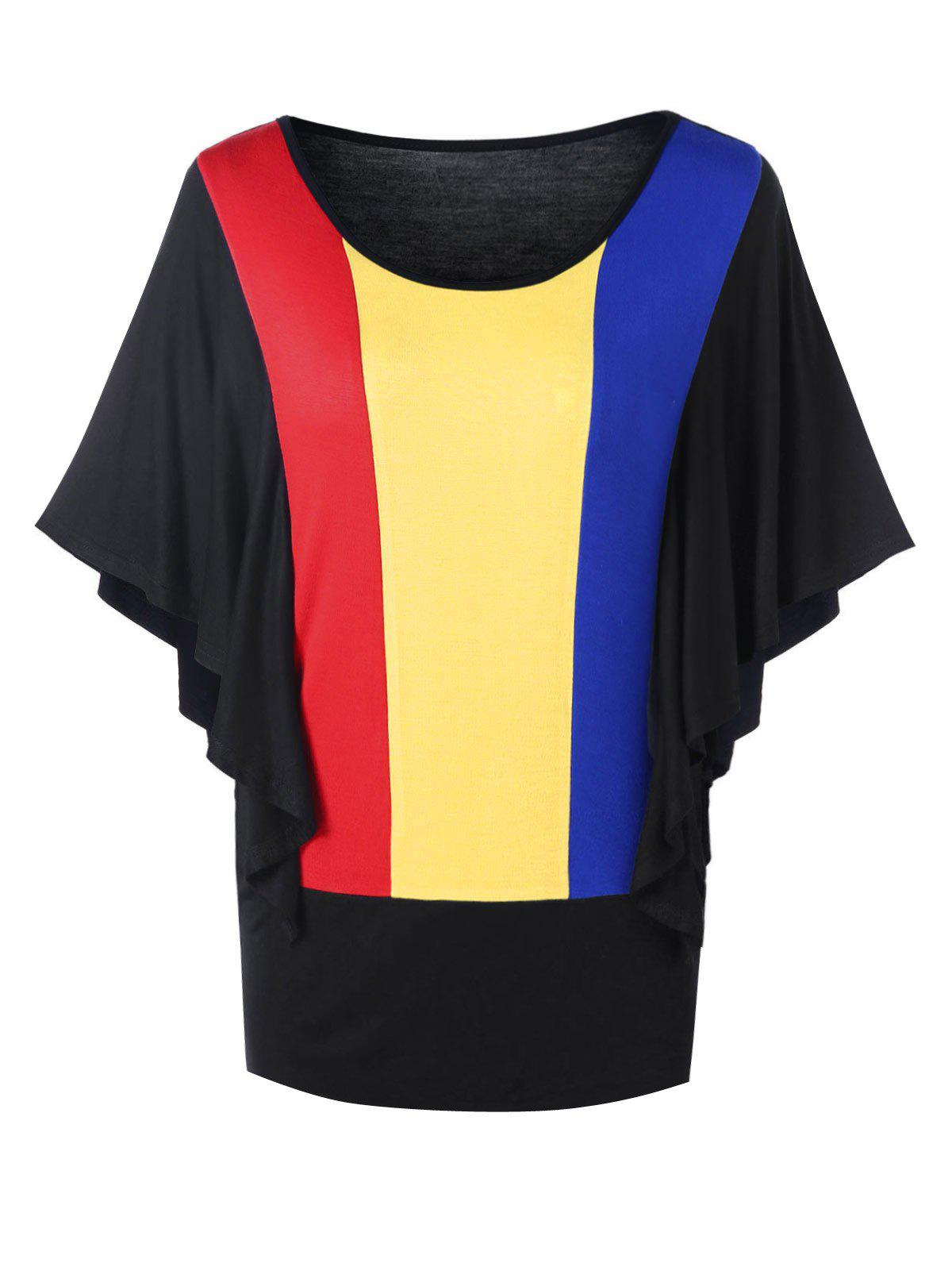 New Rainbow Butterfly Sleeves Blouson Top