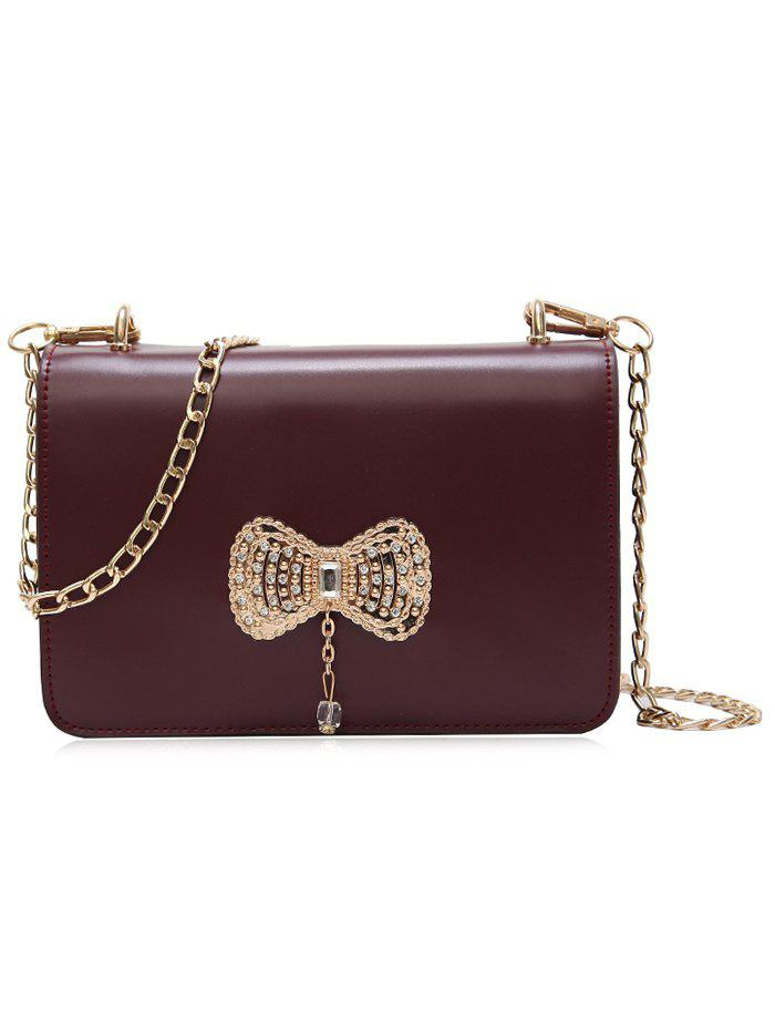 Outfits PU Leather Bowknot Rhinestone Chain Shoulder Bag