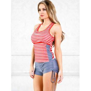Cutout Stripes Surf Tankini Swimwear -