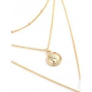 Metal Coin Bar Layered Pendant Necklace -
