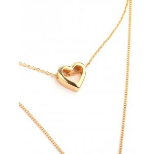 Alloy Heart Bar Layered Pendant Necklace -