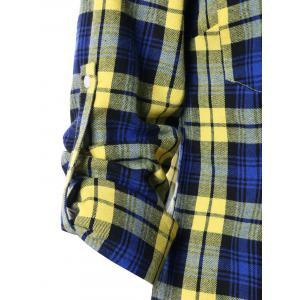 Pocket Front Adjustable Sleeve Tartan Shirt -