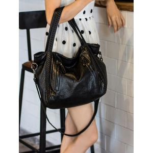Multifunctional Zipper PU Leather Braid Shoulder Bag -
