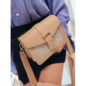 PU Leather Patchwork Simple Design Small Crossbody Bag -