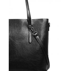 PU Leather Light Tote Bag with Shoulder Strap -