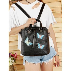 Soft PU Leather Butterfly Embroidery Zipper Decor Crossbody Bag -