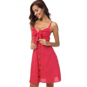 Polka Dot Knotted Cut Out Dress -