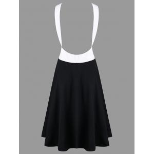 Color Block Backless Casual Dress -