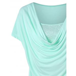 Pleated Sequined Cap Sleeve T-shirt -