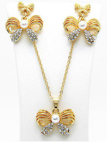 Discount Faux Pearl Rhinestone Bows Necklace with Earring Set