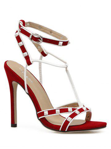 cheap sale explore Red studded high stiletto heel sandals buy cheap release dates in China cheap price 9JEbkAT2v