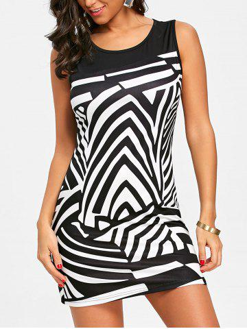 Hot Abstract Geometric Print Sleeveless Dress
