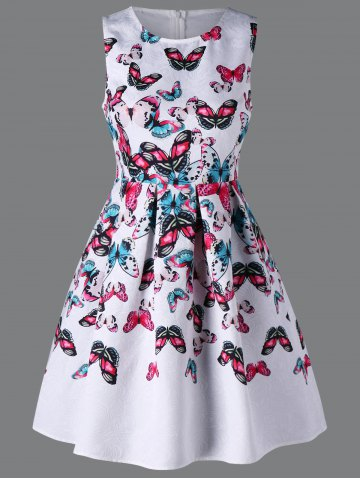 Chic Butterfly Print Sleeveless Dress
