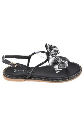 Outfits T Strap Bowknot PU Leather Flat Heel Sandals