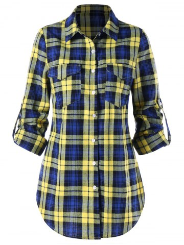 Trendy Pocket Front Adjustable Sleeve Tartan Shirt