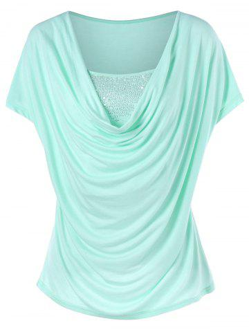Fancy Pleated Sequined Cap Sleeve T-shirt