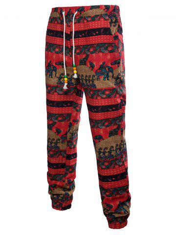 Unique Drawstring Waist Elephant Striped Pattern Sweatpants