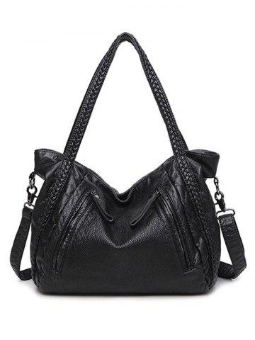 Shop Multifunctional Zipper PU Leather Braid Shoulder Bag