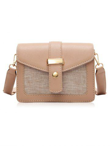 Chic PU Leather Patchwork Simple Design Small Crossbody Bag