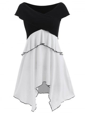 Short Sleeve Layered Asymmetrical Dress