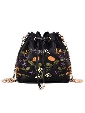 Latest Embroidery Drawstring Crossbody Bag with Chain Strap