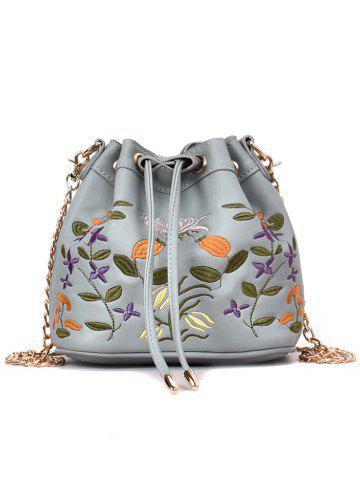 Hot Embroidery Drawstring Crossbody Bag with Chain Strap